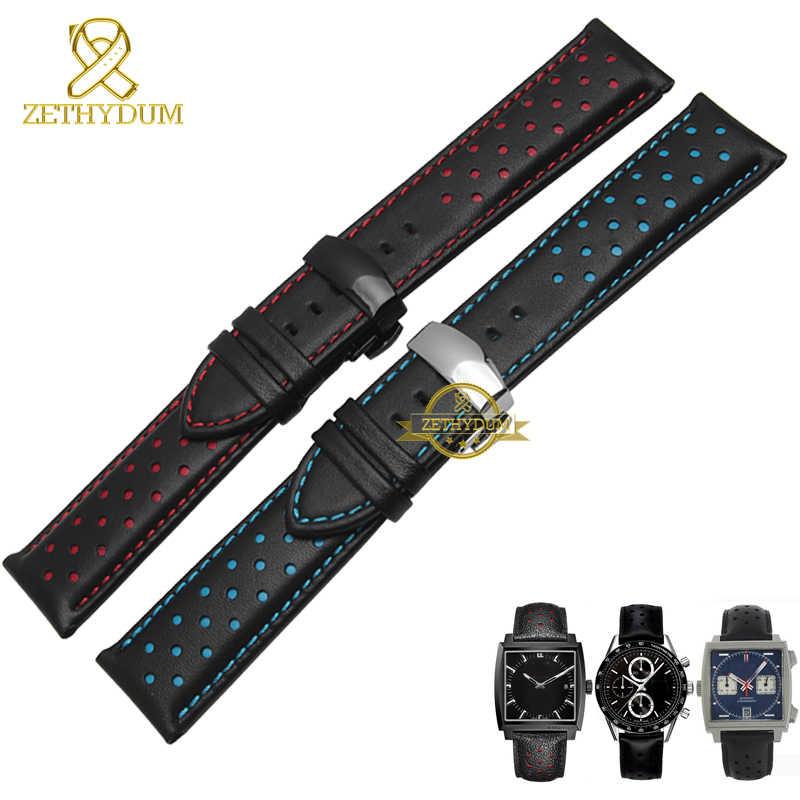 עור אמיתי רצועת השעון עור קסם צמיד ספורט שעון רצועת 20 22mm mens שעוני יד להקת חגורות שחור כחול אדום תפור
