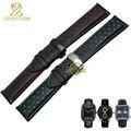 Genuína pulseira de couro charme pulseira de couro pulseira de relógio esporte 20 22mm mens relógios de pulso banda cintos preto azul vermelho costurado