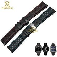 Reloj deportivo correa de cuero genuino correa de reloj de pulsera de cuero del encanto 20 22mm la banda mens relojes cinturones negro azul rojo cosido
