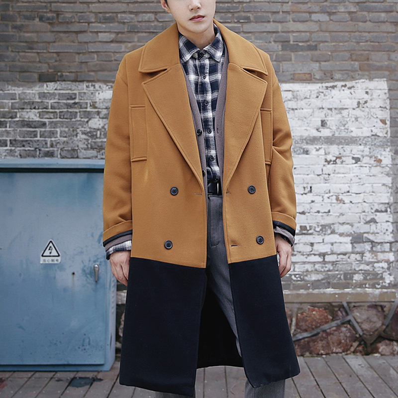 2018 Autumn and winter thickening of the long hair style men loose Korean version of the young British wool overcoat ...