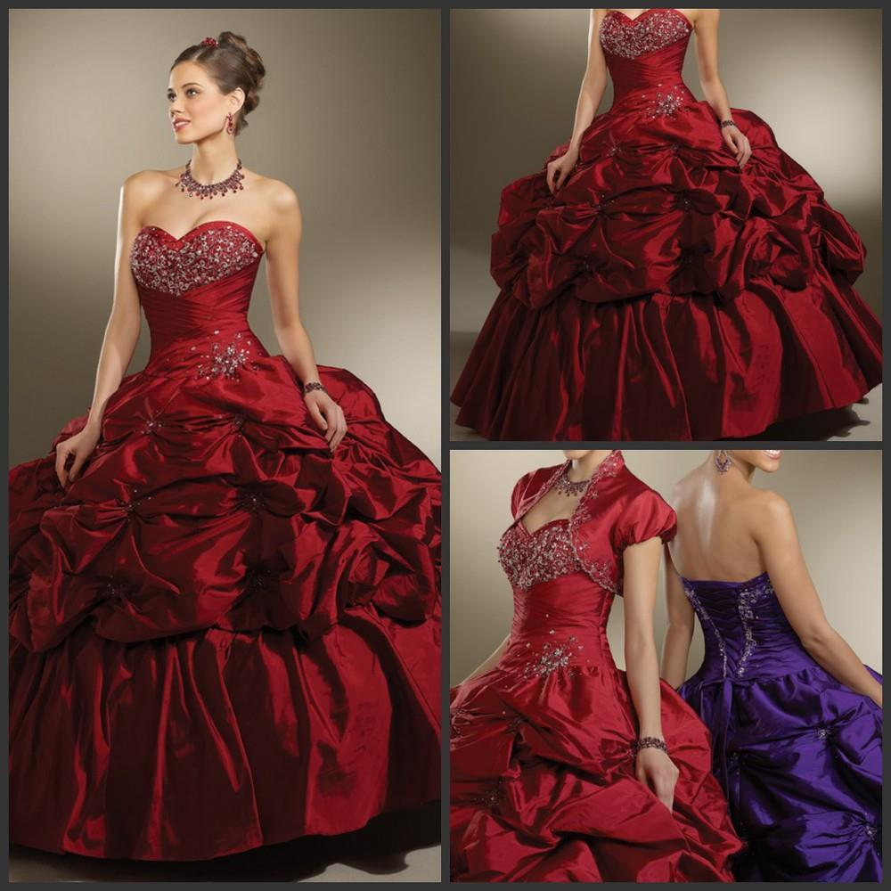 Popular Dark Red Quinceanera Dresses - 105.3KB