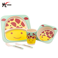 5pcs Set Cartoon Children S Tableware Grid Plate Baby Feeding Dish Bowl With Spoon Tableware For