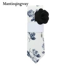 Mantieqingway Casual Cotton Ties with Free Brooch Wedding Gravatas Corbatas Business Suits Men's Ties Vestidos Skinny Neck Tie