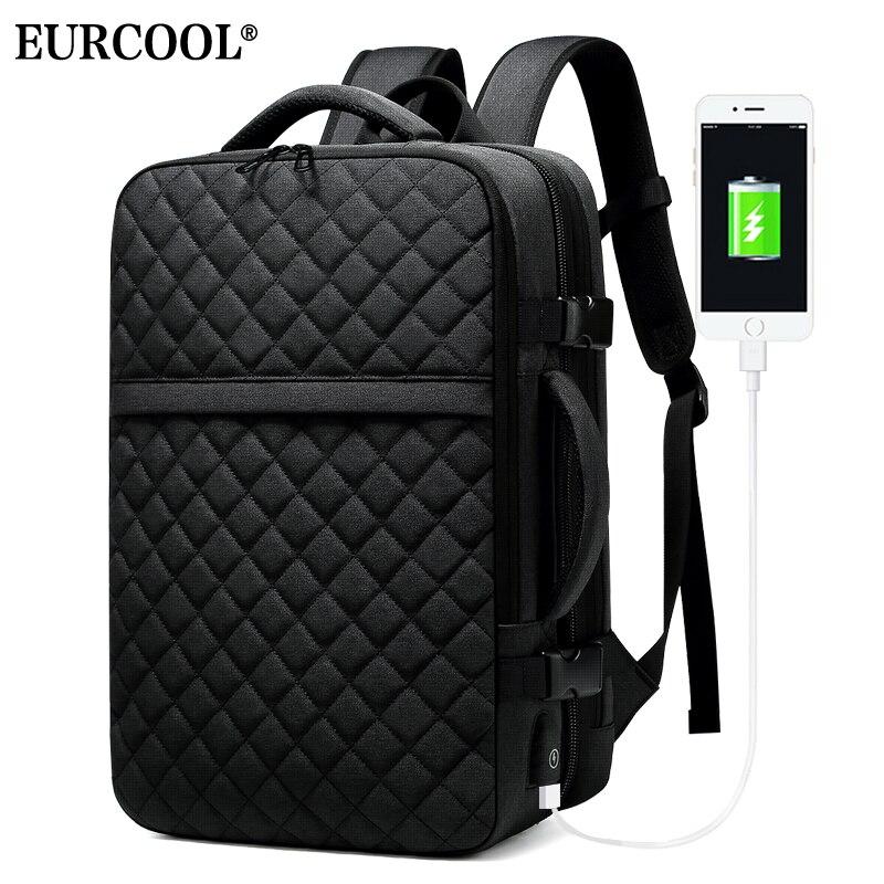 EURCOOL 2019 nouveau voyage sac à dos hommes extensible 12cm multifonctionnel sac Fit 15.6 pouces sacs à dos d'ordinateur portable mâle Mochila n1811-7 - 3
