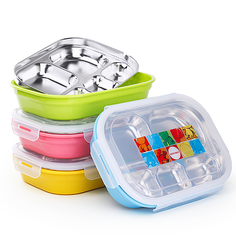 Candy Colors Japanese Stainless Steel Bento Box Food Storage Container Insulated lunch Box With Compartments For