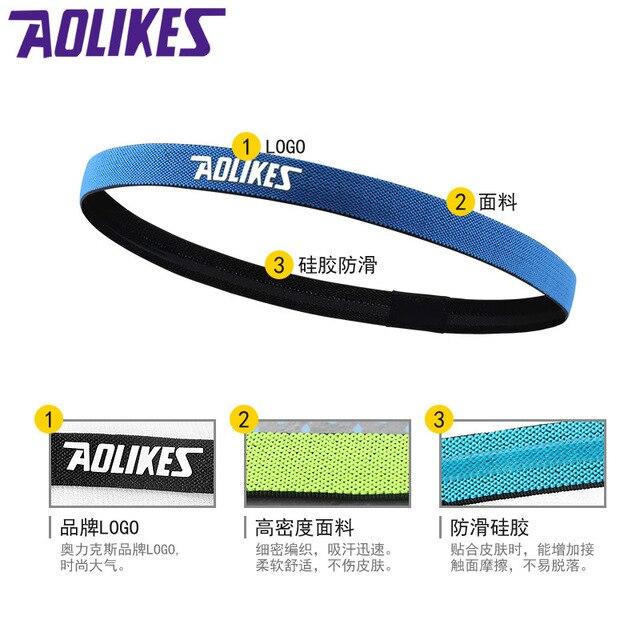Outdoor Sport Running Headband Exercise Fitness Yoga Headwear Hairband Anti Slip Sweat Absorb Silica Elastic Band Belt Men Women 3