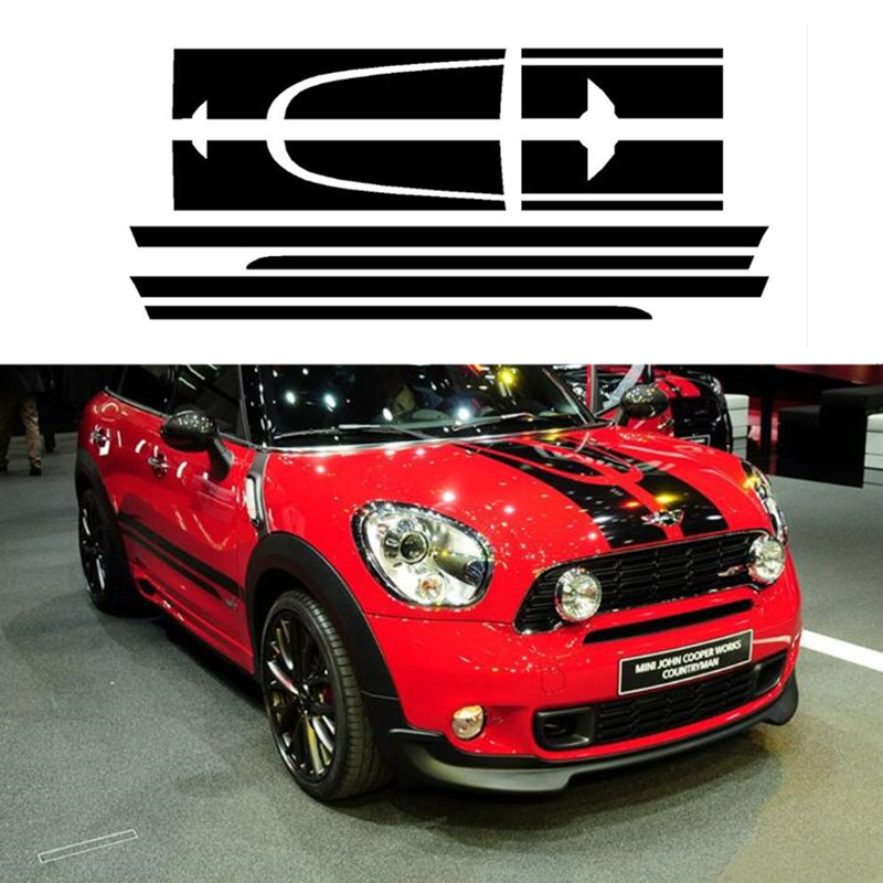 Black Set for MINI JCW Countryman John Cooper Works 2014 Only Side Racing Skirt Stripes Hood Rear Decal Sticker carking grid pattern abs uv protected door handle cover for mini cooper countryman 4 pcs