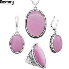 Anstory Oval Opal Jewelry Set Necklace Earrings Rings For Women Flower Pendant Stainless Steel Chain Wedding Gift TS335(China)