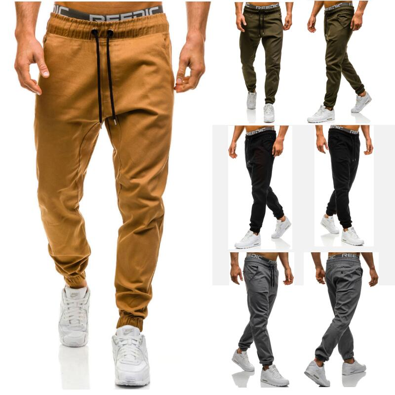 Wholesale 2019 Spring autumn Joggers running hiphop Drawstring Men s skinny casual jeans stretch Cotton pants long trousers men in Trainning Exercise Pants from Sports Entertainment