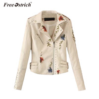 FREE OSTRICH 2017 Embroidery Floral Faux Leather Jacket White Basic Jacket Outerwear Coat Women Casual Autumn
