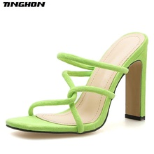 TINGHON Fashion Gladiator Flock Slippers Women Slides Square High Heel Toe Shallow Casual Black Green Pink Shoes PU 35-40