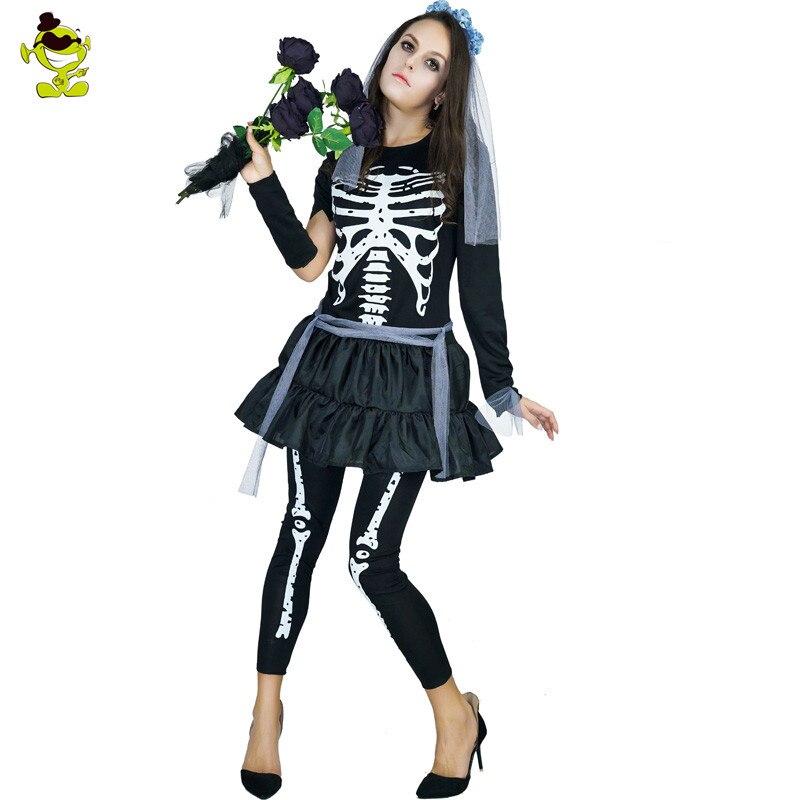 Adultos Día de Muertos esqueleto puente disfraz carnaval Halloween fiesta Cosplay mujeres Funky Punky hueso disfraz esqueleto vestido
