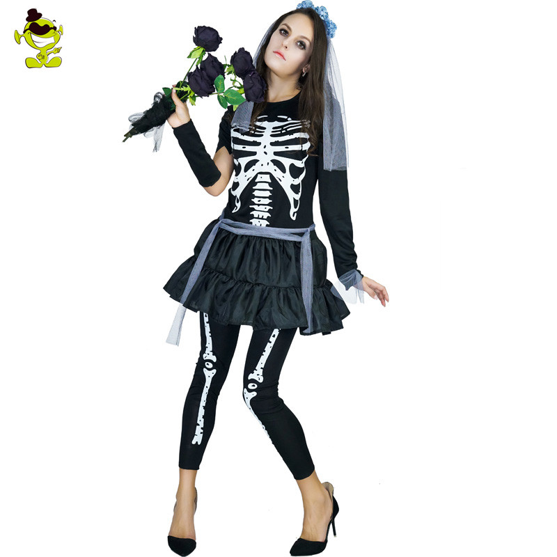 Adults Day Of Dead Skeleton Bridge Costume Carnival Halloween Party Cosplay Women Fancy Funky Punky Bone Costume Skeleton Dress