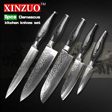 XINZUO 5 pcs kitchen knives set Damascus kitchen knife Japanese VG10 cleaver chef utility knife hammer striae free shipping