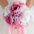Estilo Simple, nupcial de marfil de Cuarzo Rosa ramo, peony rose broche ramo de la boda de perlas de cristal, elegante de la boda ramos de flores decoración