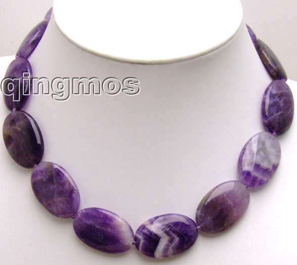 """SALE Big 20*30mm Oval high quality purple natural Amethyst 18"""" necklace-nec5517 Wholesale/retail  Free shipping"""