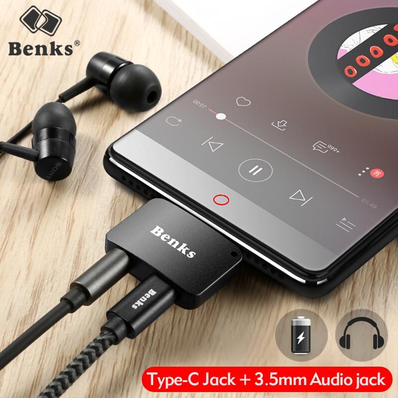 Benks Tipo-C Aux Audio Cavo Adattatore USB di Tipo C a 3.5mm Per Cuffie Jack 2 a 1 Adattatore del Caricatore Per Xiaomi Mi6 Nota3 Mix 2 Huawei