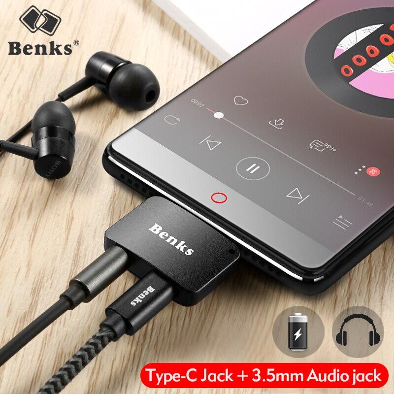 Benks Type-C Aux Audio Câble Adaptateur USB Type C à 3.5mm Casque Jack 2 dans 1 Chargeur Adaptateur Pour Xiaomi Mi6 Remarque3 Mix 2 Huawei