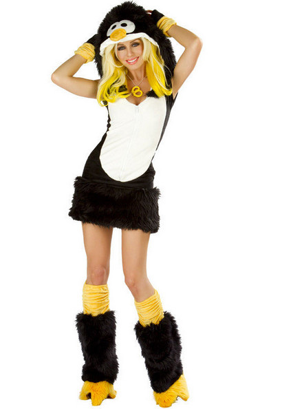 Lovely adult halloween animal cosplay costume deluxe black penguin costumes for women M4741