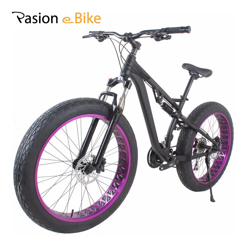 PASION E BIKE 24 Speed MTB Bicycle 26'' Fat Tire Bike Aluminum Alloy Full Suspension Mountain Fat Bikes Hydraulic Disc Brake bicycle mountain bike 7 21 speed 26x 4 0 fat bike road bike front and rear mechanical disc brake spring fork alloy wheels bike