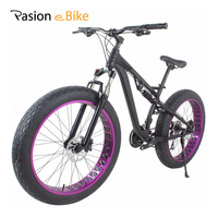 PASION E BIKE 24 Speed MTB Bicycle 26'' Fat Tire Bike Aluminum Alloy Full Suspension Mountain Fat Bikes Hydraulic Disc Brake