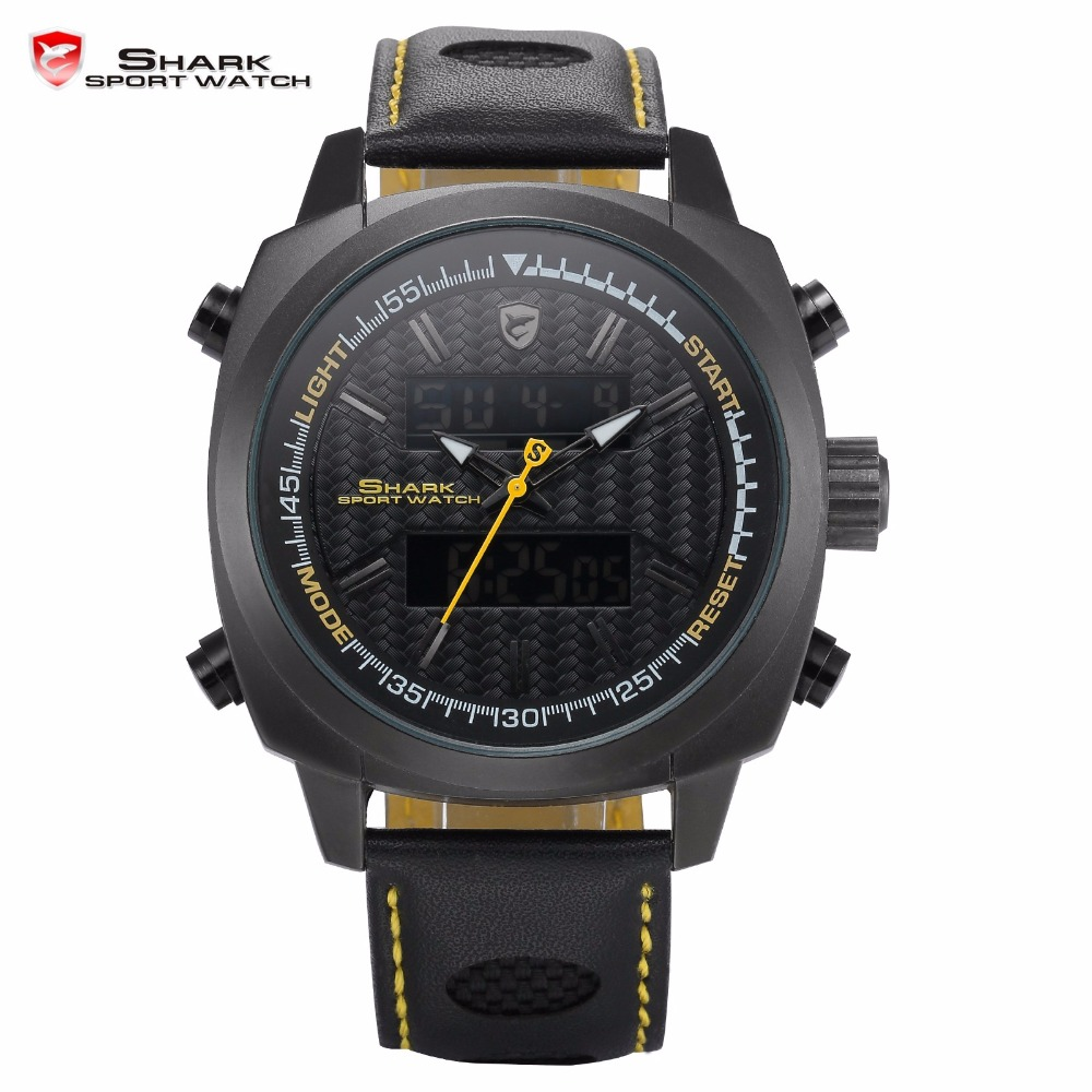 Silvertip Genuine Shark Sport Watches Brand Full Black Digital Backlight Alarm Chronograph Quartz Leather Band Men Watch /SH494 шейкер sport elite sh 300 850ml black