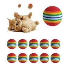 10Pcs Colorful Pet Rainbow Foam Fetch Balls Training Interactive Dog Funny Toy