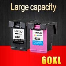 2 unids para HP 60XL Cartucho de Tinta 60 (CC641WN, CC644WN) para HP Deskjet D2545 D2530 F2430 F4224 F4440 F4480 ENVY120 C4650 C4680