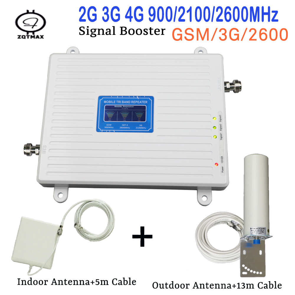2G 3G 4G Signal Booster GSM 900mhz WCDMA 2100mhz 4G 2600mhz Triple Band Moblie Signal Booster LTE Repeater Indoor Antenna Kit