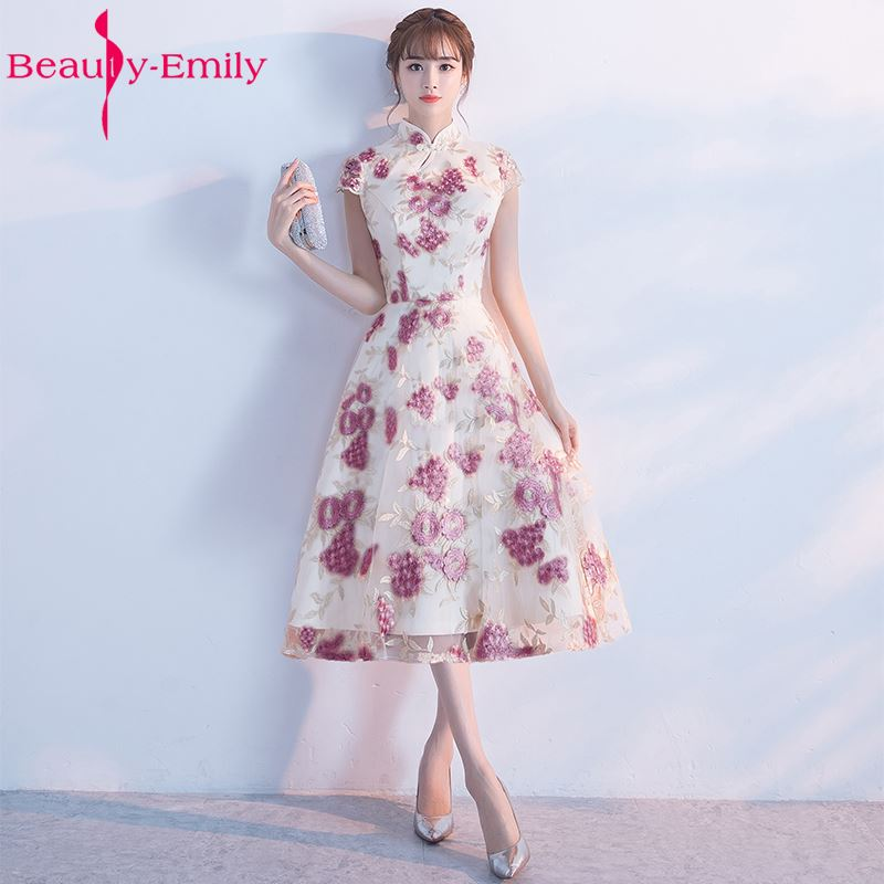 Beauty Emily New Pink Appliques Short Knee-lenght Wedding Party Bridesmaid Dresses 2017 High Neck Short Sleeve Zipper