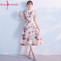 Beleza Emily Nova Rosa Apliques Curto Vestidos de Festa de Casamento Da Dama de honra Do Joelho-comprimento 2017 Alta Do Pescoço Manga Curta Com Zíper
