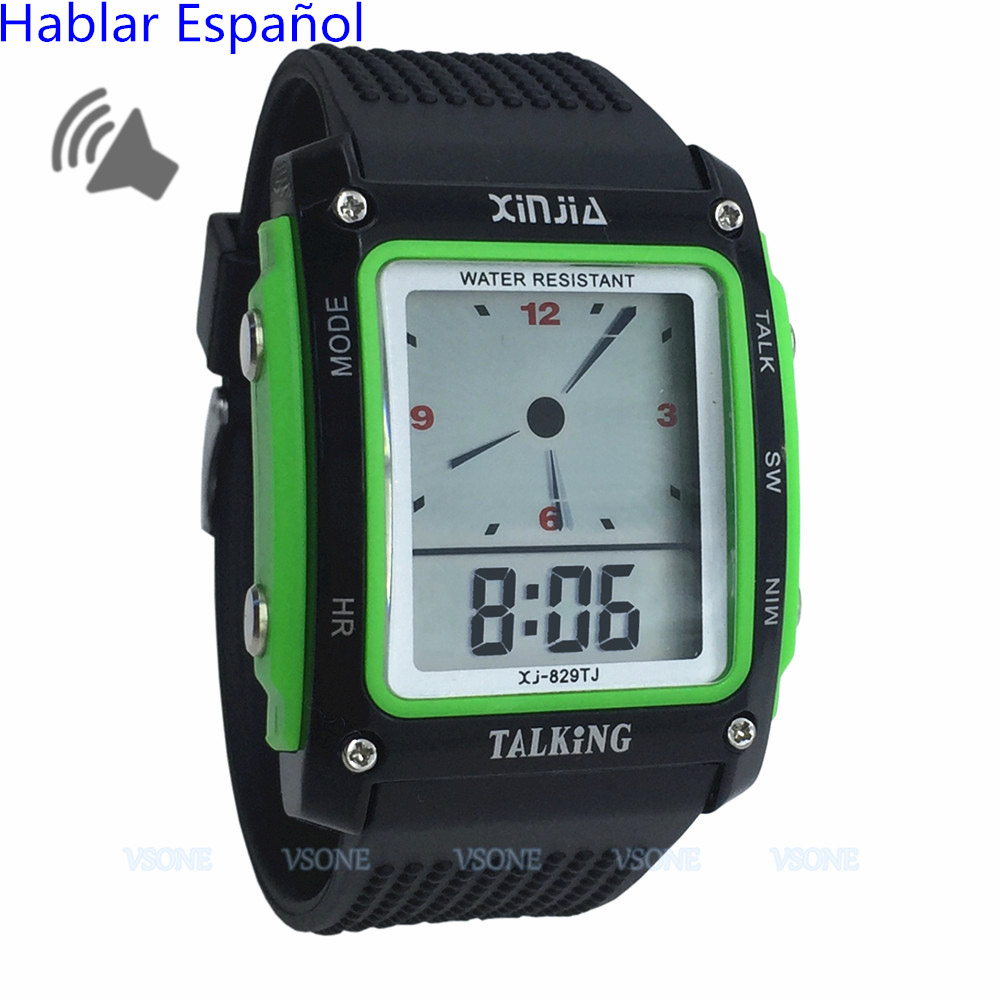 Dual Display Spanish Talking Watch For The Blind And Elderly Electronic Sports Wristwatches 829TS -GRN