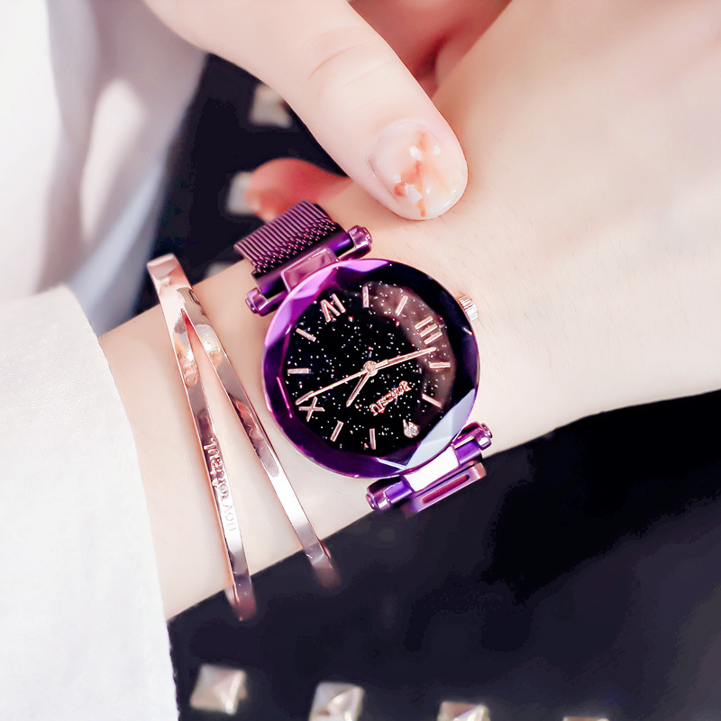 Romantic starry sky purple women watches elegant polygon design dress watch ulzzang brand female quartz clock with magnat buckle|Women's Watches| |  - title=