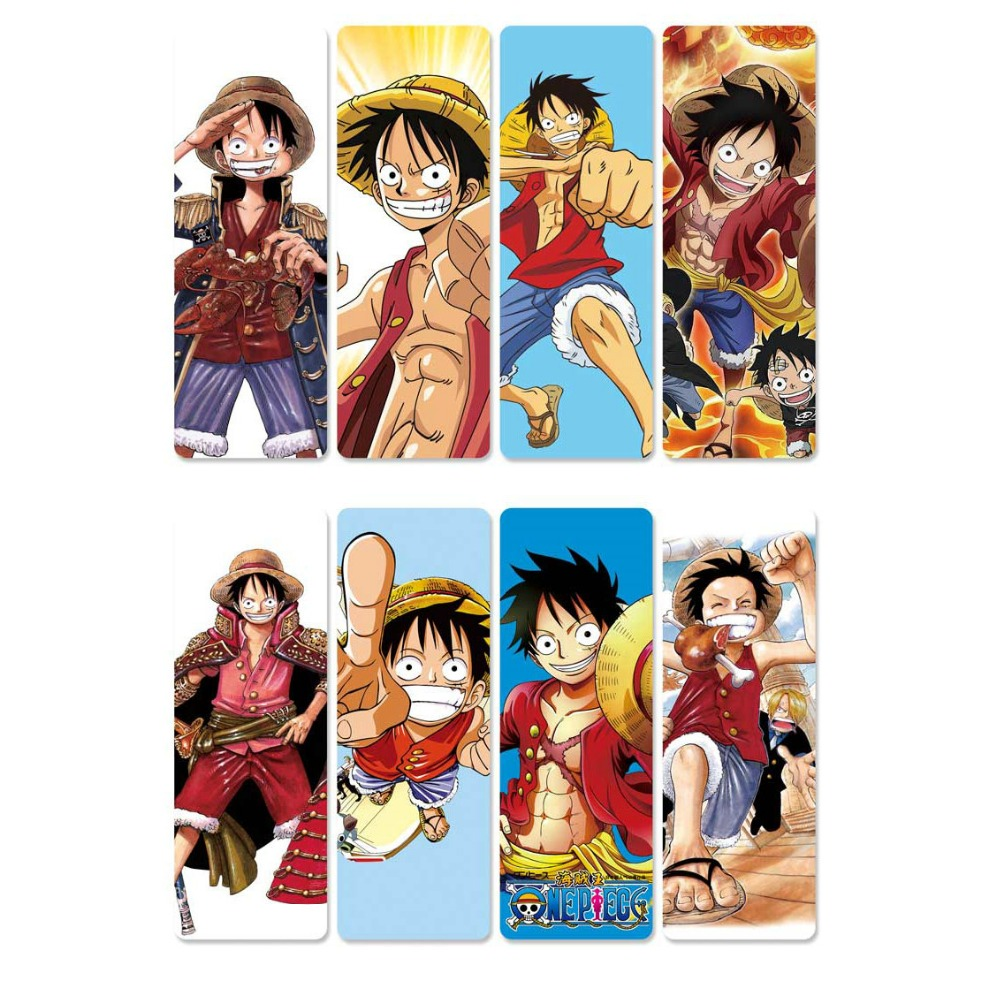 8pcs Anime One Piece Bookmarks Waterproof Transparent PVC Plastic Bookmark Beautiful Book Marks Gift