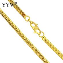купить Wholesale Price 24k Gold-Color Plated Brass Chain Necklace For Men Women Herringbone Chains Brass for Jewelry Making DIY Gift дешево