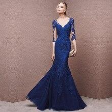 Vivian's Bridal 2018 Mermaid Banquet Evening Dress Blue Half Sleeve V Neck Back Zipper Illusion Chiffon Lady Formal Full Dress