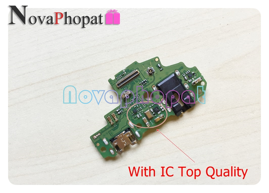Novaphopat For Huawei P Smart / Enjoy 7s Charger Port USB Charging Connector Connect Flex Cable Microphone Replacement +tracking