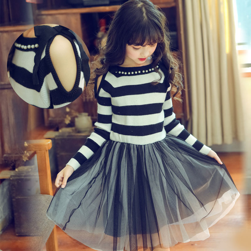 knitting sweater mesh teenagers little girls kids dress autumn long sleeve striped knitted children dress girls 8 10 12 years