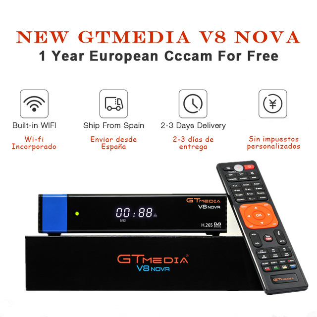GTmedia V8 NOVA HD Satellite Receiver cccam cline for 1 year free digital tv for Spain