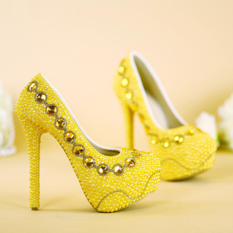 2017 New Designer Yellow Bridal Shoes Handmade Pearl Wedding Party ...