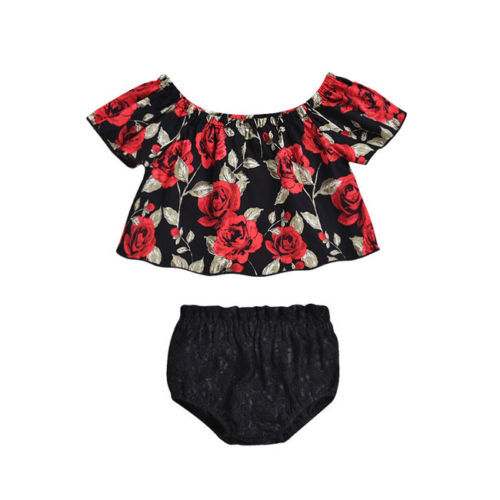 ef597a65e67 2018 New Toddler Girl Summer Clothing Set Rose Off Shoulder Tops Lace  Shorts Casual Floral Newborn Kids Baby Girl Clothes