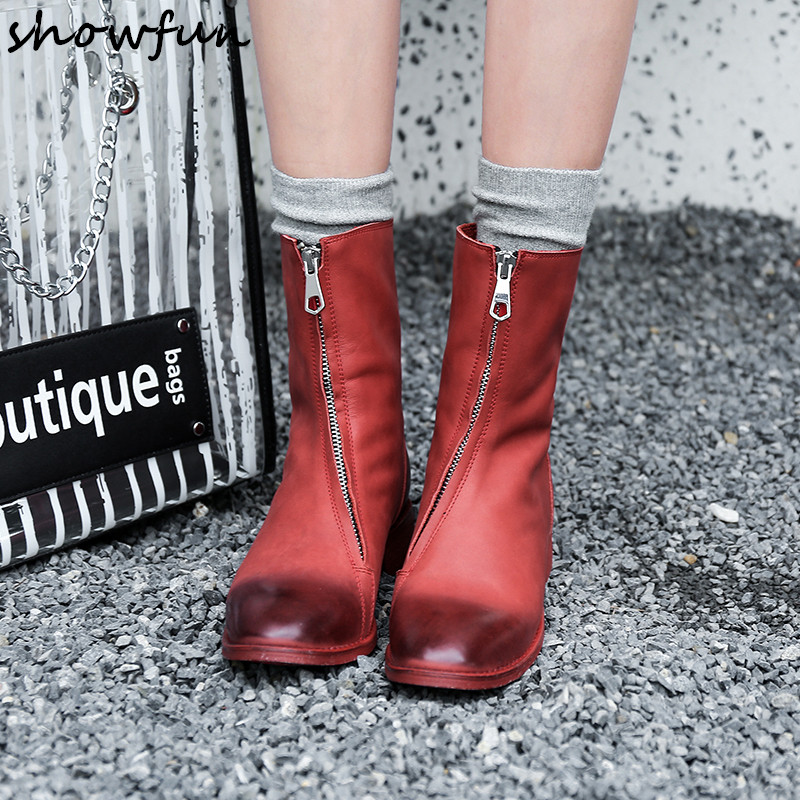 Women's Genuine Leather Front Zip Ankle Boots Gradient Color Retro Vintage Autumn Winter Boots Leisure Punk Short Booties Shoes 2017 genuine leather women ranger boots famous designer motorcycle fashion work brand shoes zip front design ankle short booties