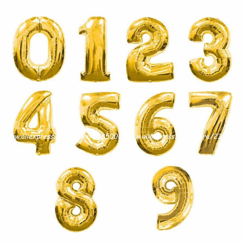 1 adet Altın/Gümüş/kırmızı/siyah/mavi/gül Kırmızı Numarası Folyo Balonlar Haneli hava Balonları mutlu Doğum Günü Düğün Dekorasyon Parça Malzemeleri