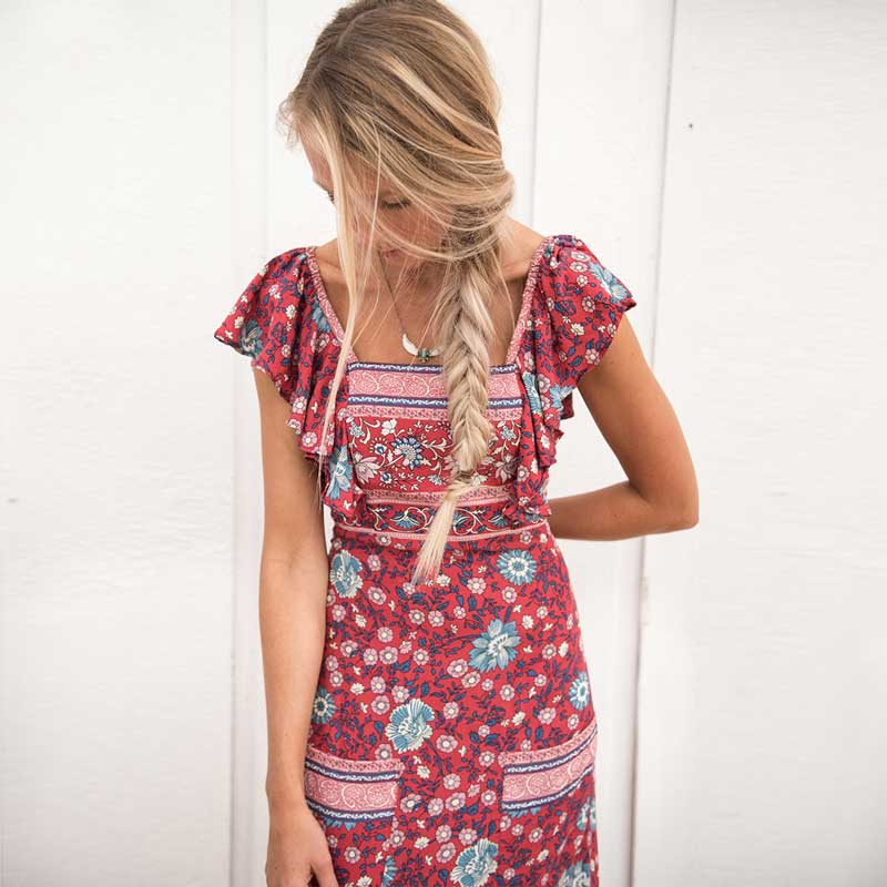 fb7914d009 Boho Inspired Summer Dress Rayon Wine Red Floral Print Backless Boho Dress  Gypsy Ruffle Sleeve Maxi beach Women Dress Vestidos-in Dresses from Women's  ...