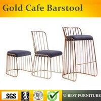 U BEST французский стиль розовое золото промышленные металлические стулья для бара, роскошный бар мебель золото медь хромированный металличе