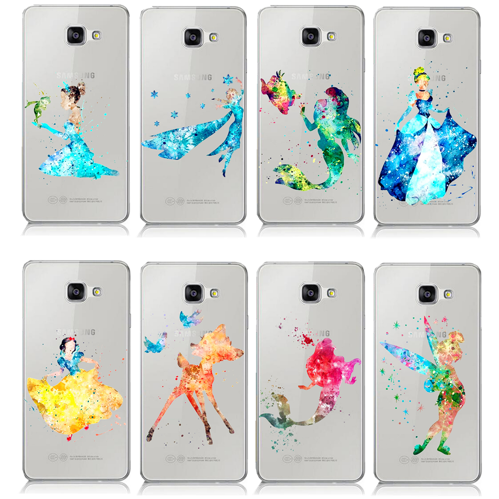 Cartoon Animal Ariel Little Mermaid Watercolor Case For Samsung Galaxy A3 A5 A7 J1 J5 J7 2016 Kissing Mickey Minnie Mouse Cover