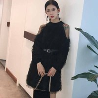 [IASK]2018 Spring Autumn New Korean Tide Semi-high Collar Solid Color Patchwork Net Yarn Pullover Dress With Belt Woman X06301