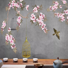 Custom wallpaper hand-painted flowers and birds background wall new Chinese retro mural waterproof material