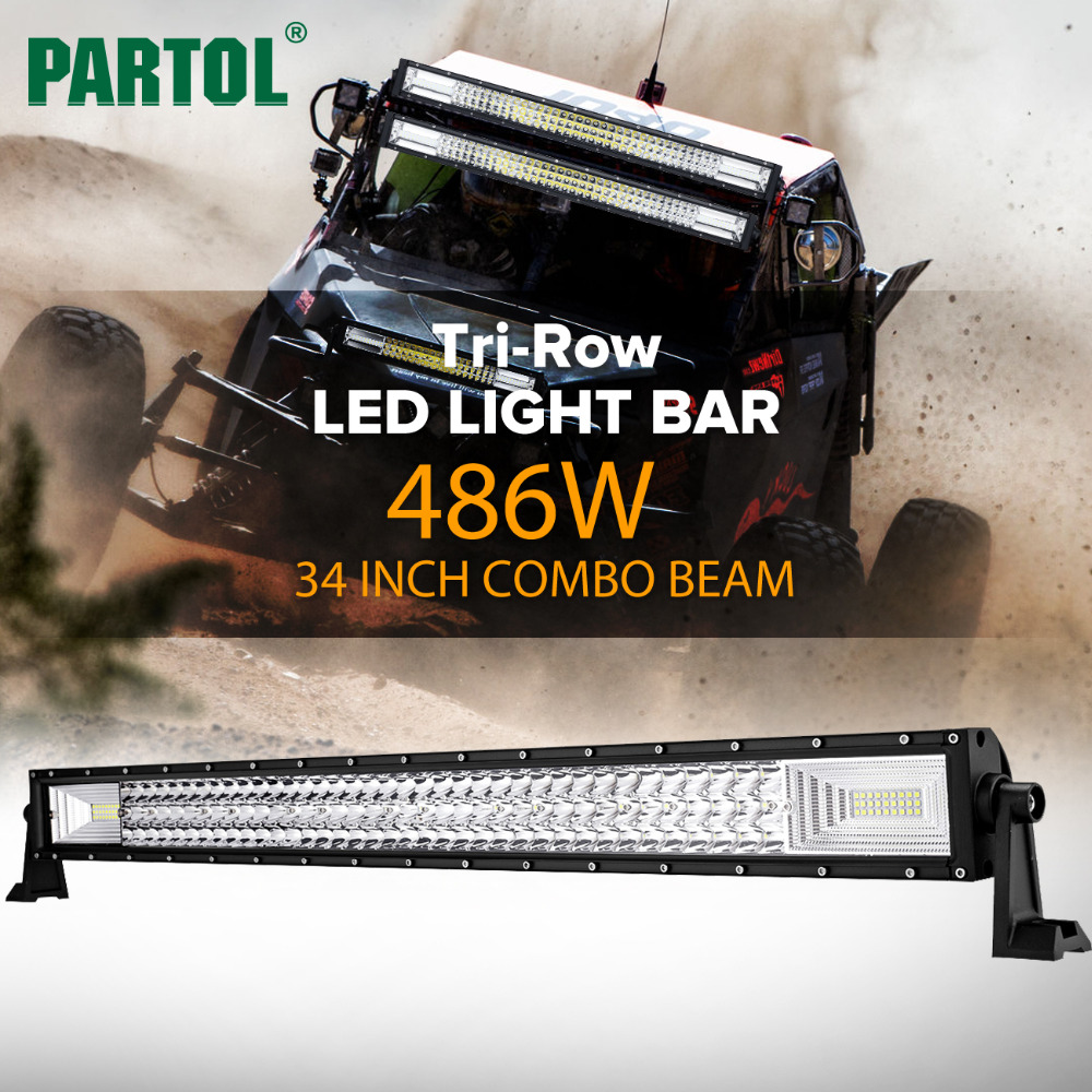 Partol 34 486W Tri-Row LED Light Bar Spot Flood Combo Beam Offroad Work Light 4WD 4x4 LED Bar for Jeep Camper Trailer 12V 24V spot flood combo 72w led working lights 12v 72w light bar ip67 for tractor truck trailer off roads 4x4 led work light