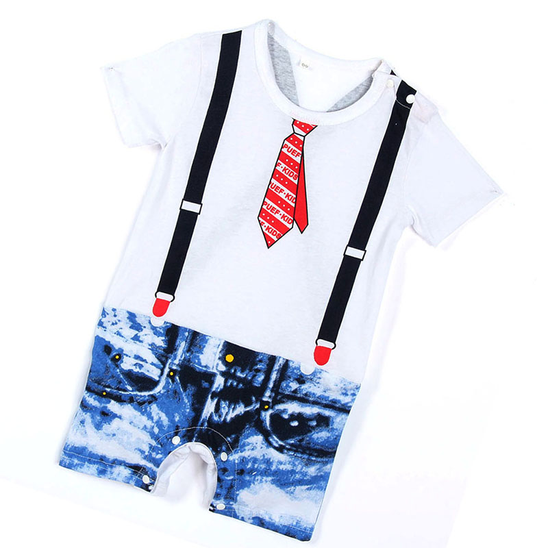 Summer Lovely Toddler Baby Boy Button Down Romper Jumpsuit Set Newborn Kid Braces Suits Kid Infant Tie Printed Playsuit lovely baby boy girl toddler newborn kid solid comfy romper soft jumpsuitth002